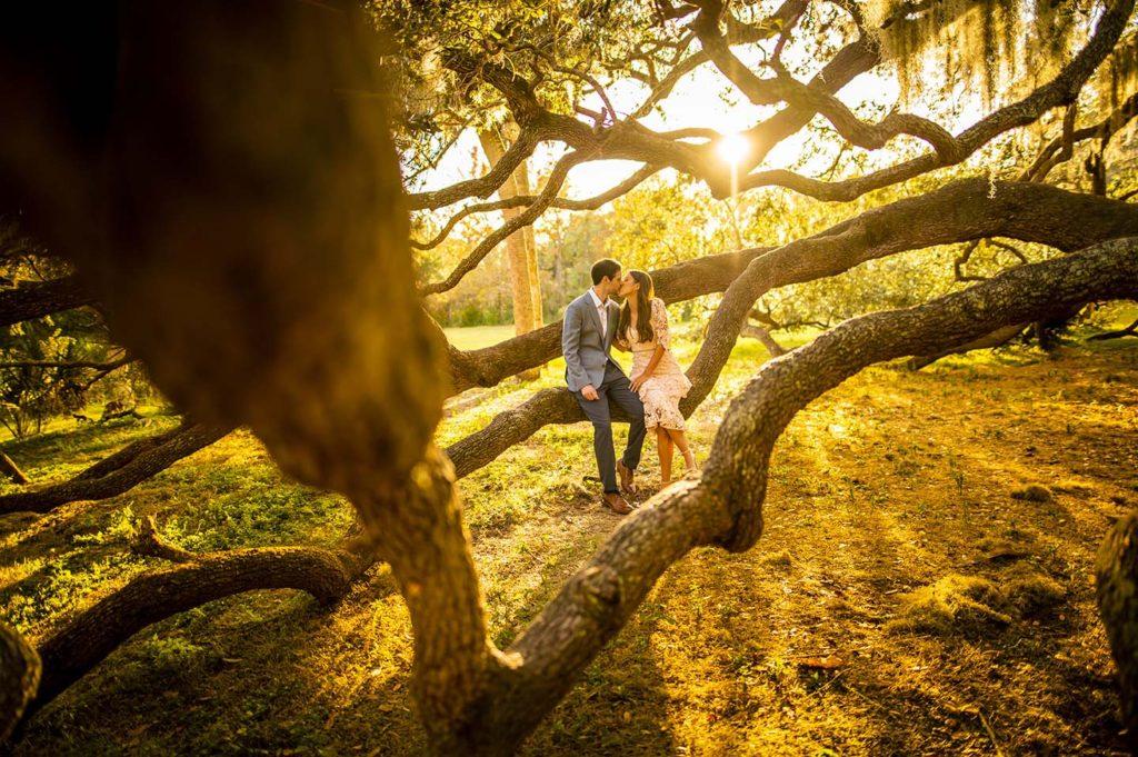 Philippe Park Engagement Shoot Sunlight Trees